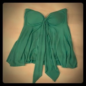 Turquoise strapless flare top W Large with tie